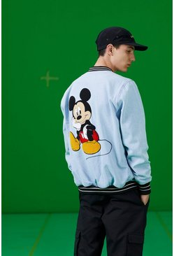 Blue Disney Denim Bomber Jacket With Mickey Embroidery