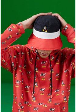 Black Disney Colour Block Mickey Print Bucket Hat