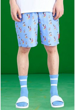 Blue Disney All Over Mickey Print Swim Shorts