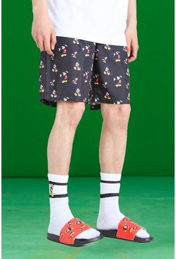 Black Disney All Over Mickey Print Swim Shorts