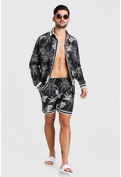 Black Long Sleeve Palm Print Shirt & Short Set