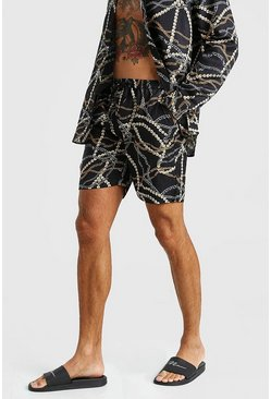 Black Chain Print Short