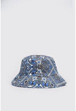 Blue Bandana Paisley Print Bucket Hat