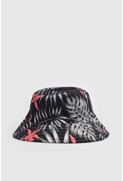 Black Palm Print Bucket Hat