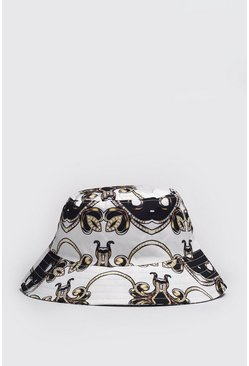 Black Baroque Print Bucket Hat