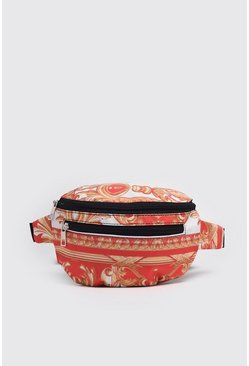 Red Baroque Print Fanny Pack