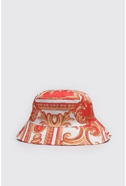 Red Baroque Print Bucket Hat