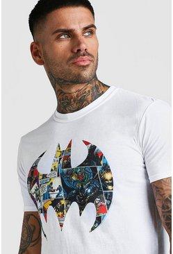 White Infill Batman Logo Print License T-Shirt