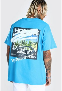 Oversized MAN Official Graffiti Print T-Shirt, Blue