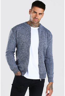 Grey marl Smart Knitted Bomber