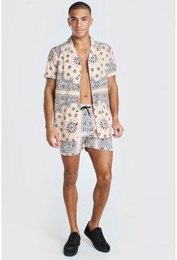 Peach Short Sleeve Revere Bandana Shirt & Swim Set