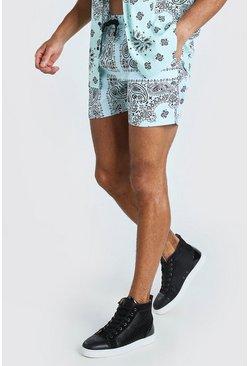 Mint Mid Length Bandana Print Swim Shorts