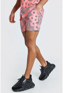 Coral Mid Length Bandana Print Swim Shorts