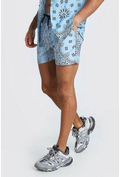 Blue Mid Length Bandana Print Swim Shorts