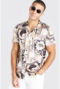 Gold Short Sleeve Baroque Print Satin Shirt