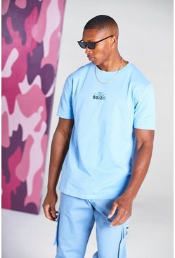 Powder blue Muscle Fit Active T-Shirt With Print