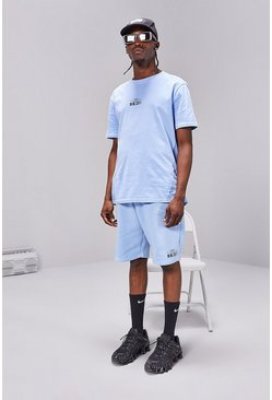 Powder blue Regular Fit T-Shirt And Short Set With Print