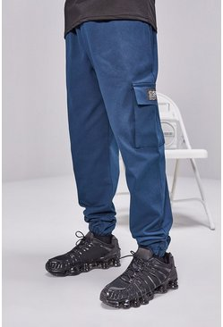 Teal Cargo Pants With Woven Tab Detail