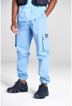 Powder blue Cargo Trousers With Woven Tab Detail