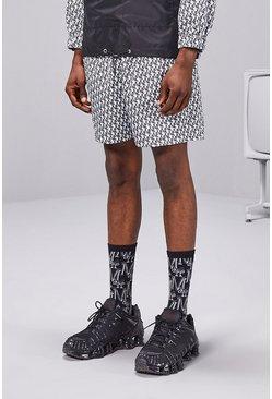 Grey MAN Repeat Print Contrast Half Zip Hooded Cagoule