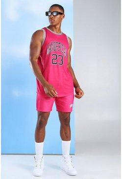 Pink MAN Official Basketball Vest & Short Set