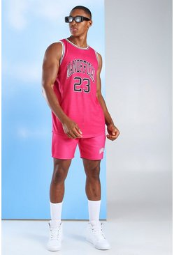Pink Man Official Basketball Tank Top & Short Set