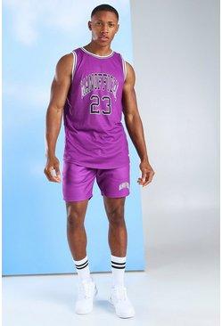 Purple Man Official Basketball Tank Top & Short Set