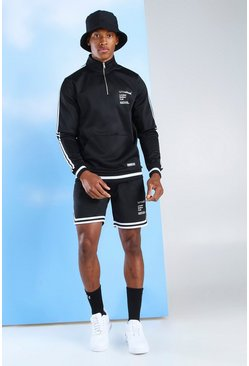 "Jogging-Top und Shorts mit ""MAN Official""-Poly-Tape, Schwarz"