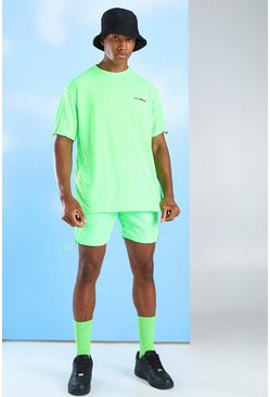 Ensemble t-shirt et short en nylon MAN Official, Vert