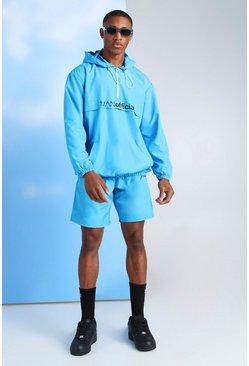 Blue MAN Official Neon Nylon Cagoule & Short Set