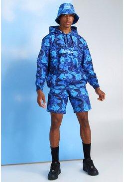 Dark blue MAN Marble Shell Short Tracksuit