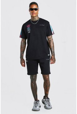 Ensemble t-shirt et short imprimé au dos MAN Official, Noir
