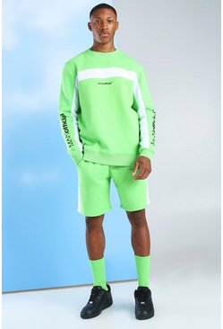 Green Short Tracksuit With Man Official Sleeve Print