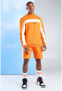 Orange Short Tracksuit With MAN Official Sleeve Print