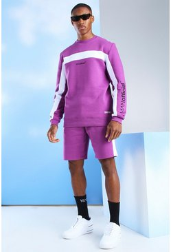 Purple Short Tracksuit With Man Official Sleeve Print