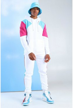 Survêtement à capuche colorblock MAN Official, Blanc