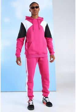 Survêtement à capuche colorblock MAN Official, Rose