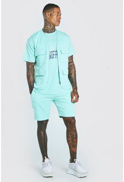Mint Man 3 Piece Utility Vest T-Shirt & Cargo Short