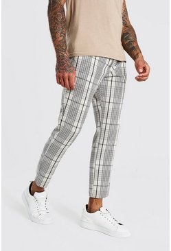 Stone Skinny Check Cropped Smart Trouser