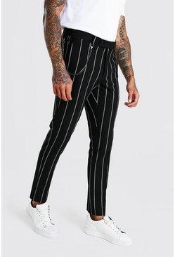 Black Skinny Stripe Chain Detail Smart Pants