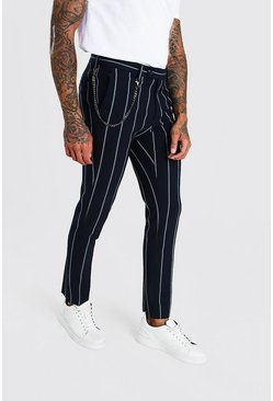 Navy Skinny Stripe Chain Detail Smart Trouser