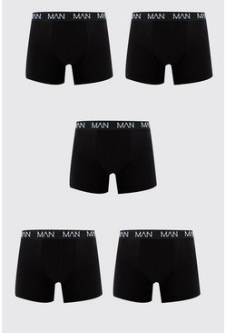 Lot de 5 boxers mi-longs MAN Dash répété, Noir