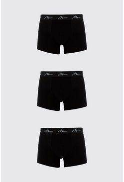 Lot de 3 boxers mi-longs MAN Signature, Noir