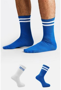 Blue 2 Pack MAN Dash Sock