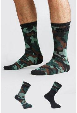 Black 2 Pack MAN Dash Camo Socks