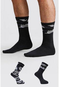 Grey 2 Pack MAN Dash Camo Socks