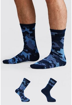 Blue 2 Pack MAN Dash Camo Socks