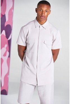 Peach Short Sleeve Utility Pocket Smart Shirt