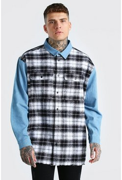 Multi Oversized Drop Shoulder Denim And Check Mix Shirt