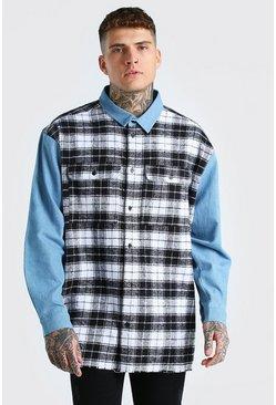 Multi Oversized Drop Shoulder Denim And Check Mix Shirt